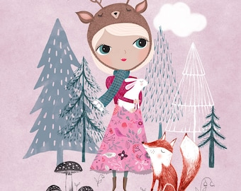 Deer Girl....Giclee print of an original illustration