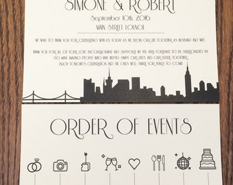 NYC Order of Events Program Ceremony Itinerary Handout Your City Custom Half Sheet Weding Decor Choose Font