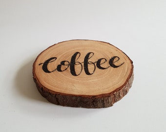 Coffee Coaster - Natural Wood Coaster, Coffee addict, Wood Burning, Woodburning Art, Barware, Wood Slices, Wood Slice Art, Wooden Coasters