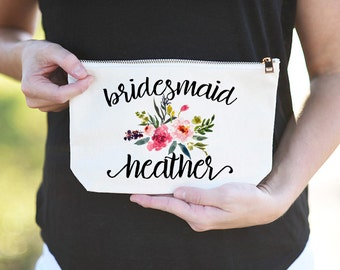 Floral Bridesmaid Makeup Bag, Floral Bridesmaid cosmetic Bag, Bridesmaid Cosmetic Bag, Bridesmaid Makeup Bag, Makeup Bag for Bridesmaid