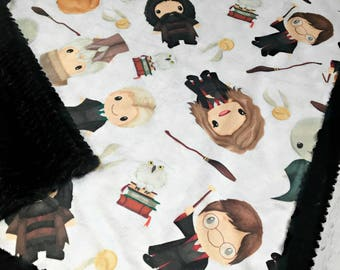 Wizard Friends  - Minky Blanket - Designer Minky - Black