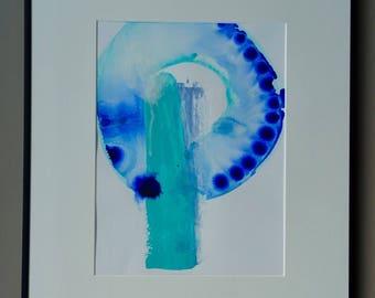 Minimal abstract art, modern contemporary mixed media painting.