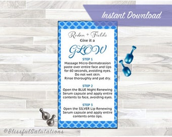Rodan and Fields Mini Facial Cards - Give it a GLOW - Randf - Business Cards - Instant Download - DIY Printable Business Cards