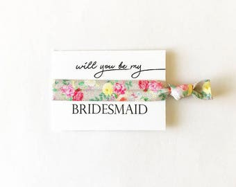 Bridesmaid Proposal Ponytails, Will You Be My Bridesmaid Hair Ties, Bridal Party Favor, Floral Elastic
