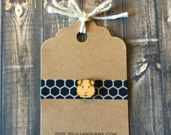 Rustic Guinea Pig Lapel Pin / Tie Tack - Laser Cut Wood - Small