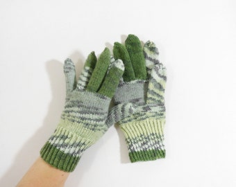 Knitted Men's Gloves - Gray, Green, Size Medium
