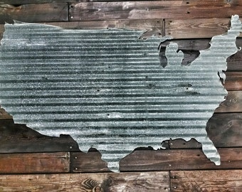 Impressive 25 by 40 inches! Corrugated metal outline - United States