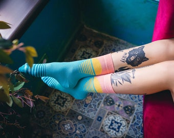 Round Yellow Socks with Pale Yellow Dot  for  Men and Women