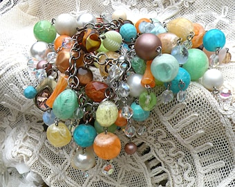 plus size recycled bead bracelet assemblage fall upcycled vintage jewelry large wrist romantic bold statement full lush