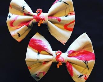 Handmade Flamingo Hair Bows - Rockabilly Pinup Pink