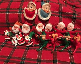 Vintage Christmas Pixie Elf & Santa figurines LOT of 16