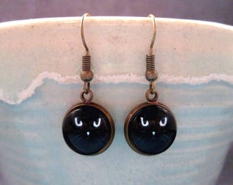 Black Cat Earrings, Glass Cabochon Earrings, Brass Dangle Earrings, FREE Shipping U.S.