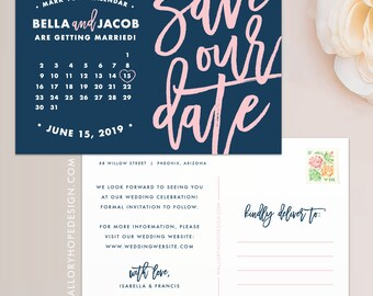 Calendar Save the Date Postcard / Magnet / Flat Card / Digital Files - Calendar Save our Date, Save the Date Calendar, Wedding Save the Date