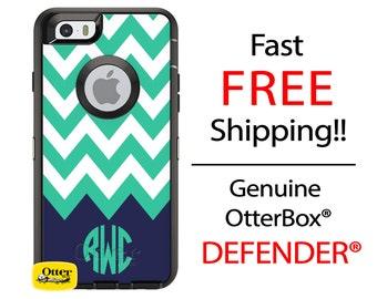 iPhone OtterBox Defender Phone Case for iPhone X, 8, 8 Plus, 7, 7 Plus, 6/6s, 6 Plus, 6s Plus, 5/5s/SE Galaxy Monogrammed Chevron Case