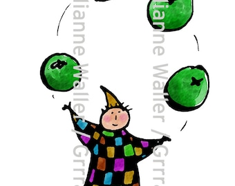 People with Food: green pea juggler vegetable digital printable clipart