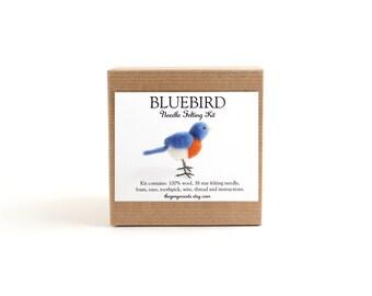 DIY Kit - Bluebird Needle Felting Kit - Needle Felted Animal Kit