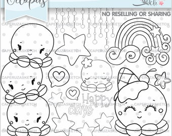 Octopus Stamps, Octopus Digital Stamps, Octopus Coloring Page, COMMERCIAL USE, Happy Days, Rainbow Stamps, Ocean Stamps, Cute Octopus Stamps