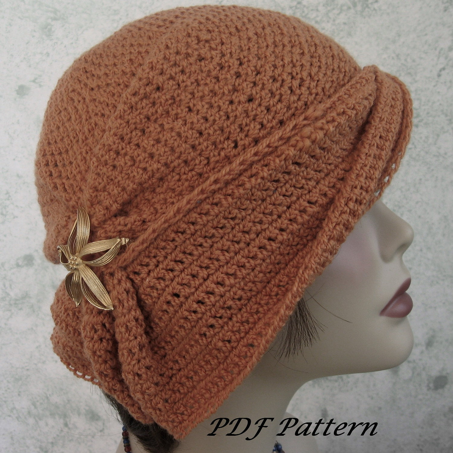 Crochet hat pattern womens cloche with side gathers and draped zoom bankloansurffo Gallery