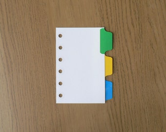 Filofax Pocket Organiser Dividers with 3 Multicoloured Mylar Tabs