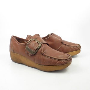 Famolare Oxford Shoes Vintage 1970s Get There Wedges Brown Leather Women's