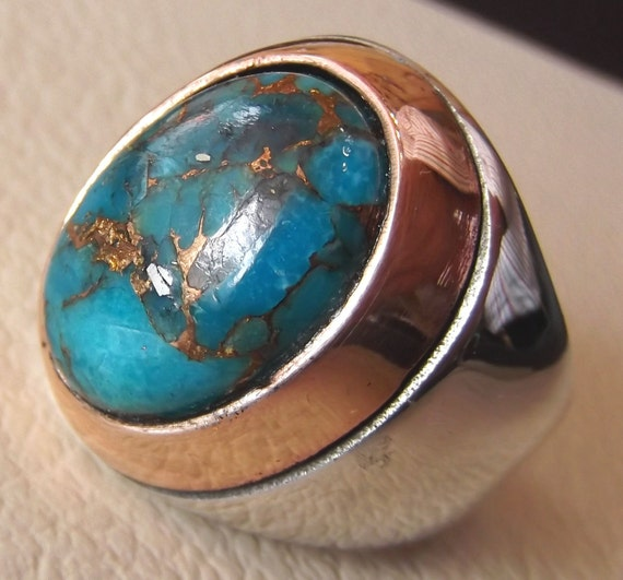 Copper Turquoise Natural Stone Men Sterling Silver 925 Ring