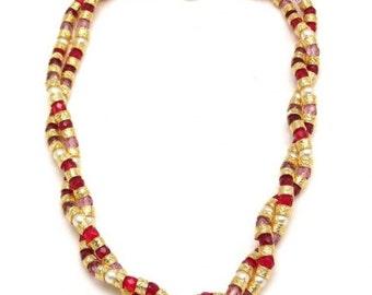 Murano Glass Multi Twist Necklace Red