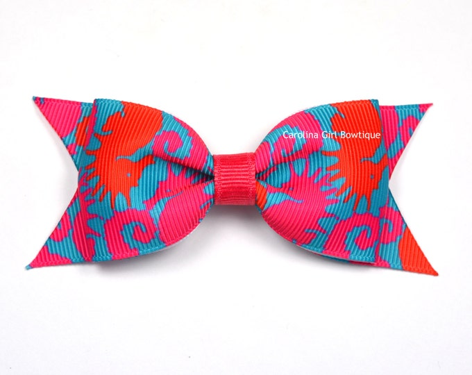 """Lilly Pulitzer Hair Bow ~ Hold Your Horses Bow  ~ 3.5"""" Hairbow ~ Lilly Inspired ~ Girls Barrette ~ Toddler Bow ~ Hair Clip ~ Girls Hair Bow"""