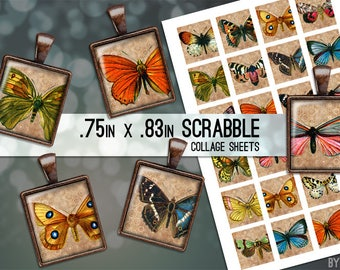 Vintage Butterflies Digital Collage Sheet Scrabble Tile Images .75x.83 on 4x6 and 8.5x11 Download Sheets for Glass or Resin Pendants