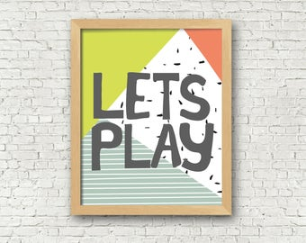 Lets Play Abstract Modern Boys Room Wall Art 8x10 Digital Art Print Playroom Decor Boys room decor Boys nursery wall art printable