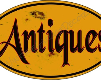 """Antique Style """" Antiques """" Aged Looking Oval Metal Sign"""