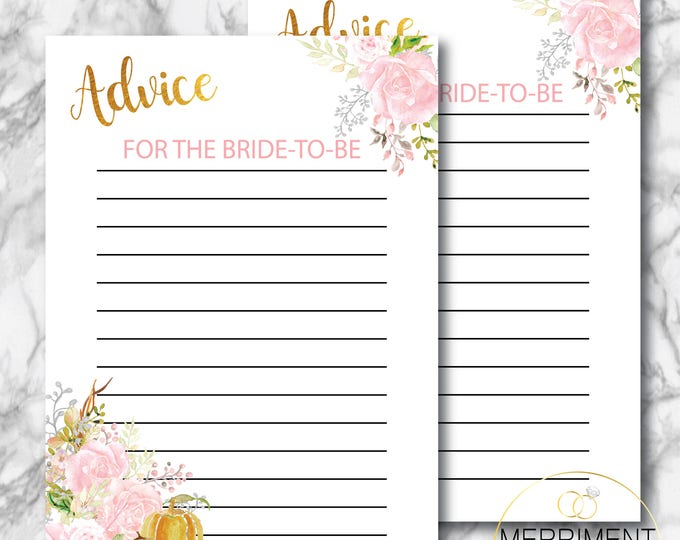 Fall Advice Card for the Bride to Be // Pink // Autumn Advice Card // Pumpkin // Bridal  Shower // Gold // Printed // CARMEL COLLECTION