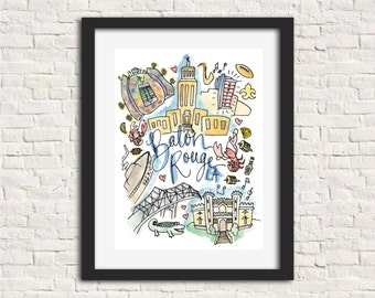 Baton Rouge, Louisiana Watercolor City Illustration Wall Art Print // 8x10