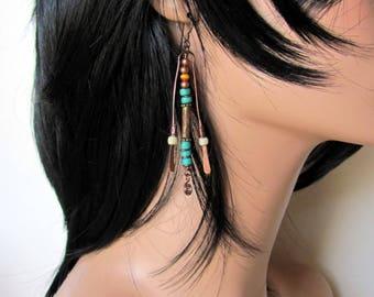 Long boho tribal earrings, beaded copper, niobium ear wires