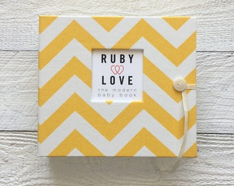 BABY BOOK | Yellow Chevron Album