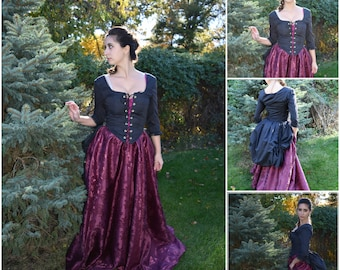 Black Bustle Corset; Made to order; Steampunk; Rococo Corset; Once Upon a Time Costume; Evil Queen Corset; Regina Costume; Witch Corset