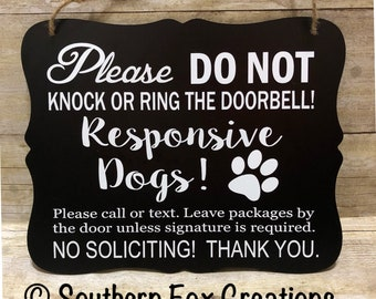 Do Not Knock/Responsive Dog Door Hanger/Sign/ Do not Disturb Sign/ No Soliciting Sign/ Do not Knock Sign