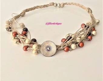 """Fancy 4 """"thread & beads"""" Filartistique, Brown necklace"""