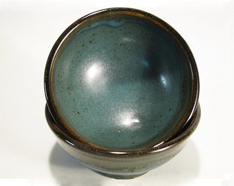 Small stoneware blue-green rice or desert bowls