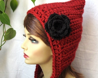 Hoodie Elf Hat Pixie Hat Red Riding Hood Cozy Womens Hat, Chunky, Teens, Girls, Head Cover, Birthday Gifts, Handmade JE467HOF