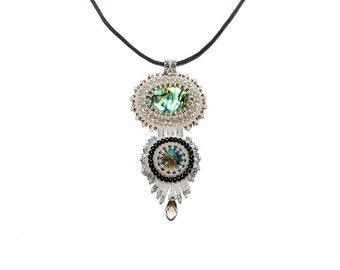 Free shipping USA & Canada. Bead Embroidered Pendant Necklace with Paua Abalone Shell, Swarovski Rivoli. Statement Necklace Soutache Jewelry