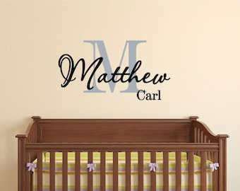Monogram wall decal for boys Monogram Personalized  Vinyl Wall Decal perfect decoration for nursery or playroom