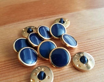 Navy and gold vintage matching buttons. Lot of 12. (Feb35)