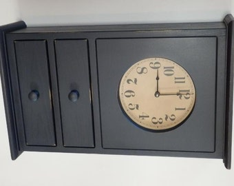 Primitive Homestead Clock with drawers