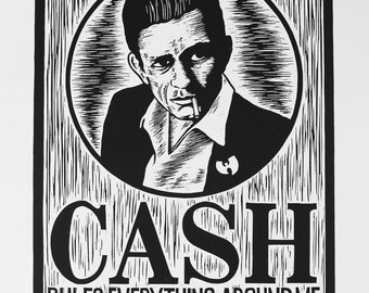 "Cash - Linocut Print of Johnny Cash ""Cash Rules Everything Around Me"", Signed and Numbered Edition of 100"