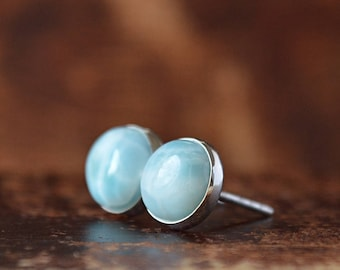 Larimar Earrings, Dominican Larimar Stud Earrings 6mm, 8mm, 10mm. Ocean blue Gemstone: Oxidized Sterling Silver, 14k Gold Fill, gift for Her