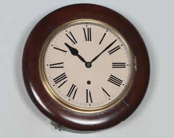 "Antique 14"" Mahogany Ansonia Railway Station / School Round Dial Wall Clock (Timepiece)"