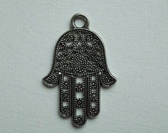 Hamsa Hand Fatima Pendant Silver