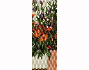 Flowers in Vase #4 Peyote Bead Pattern, Bracelet Cuff, Bookmark, Seed Beading Pattern Miyuki Delica Size 11 Beads - PDF Instant Download