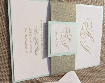 Mint and Gold Glitter Pocket Wedding Invitations with Glitter