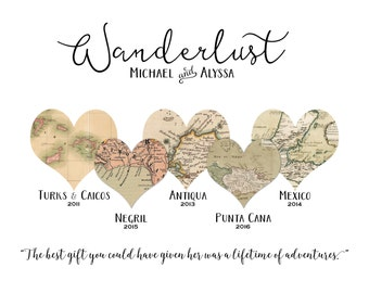 WANDERLUST TRAVEL Map Art for Couples/Families. Personalized wedding, anniversary, engagement gift. Digital File.